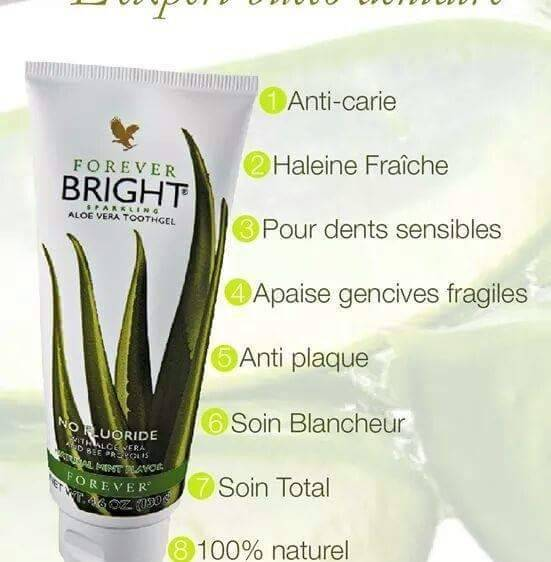 Avantages Dentifrice Aloe Forever Bright